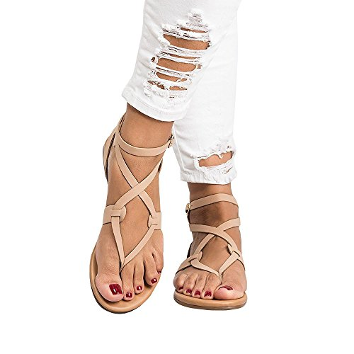 HKDGID Womens Gladiator Strappy Flat Open Toe Lace Up Criss Cross Strap Ankle Wrap Summer Beach Thongs Sandals Beige ()