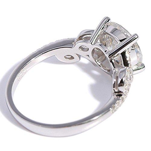 Gowe 3carat CT f Couleur Forme de fleur de mariage de fiançailles Lab Cultivées Charles en diamant avec accents de diamant 14K 585Or blanc