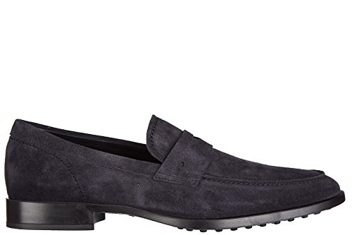 Tods Mens Leather Loafers Moccasins Rubber VG Blu yseI98tGV