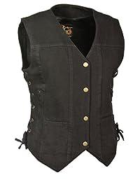 Milwaukee Leather Women's Denim 6 Pocket Vest with Side Lace (Black, XX-Large)
