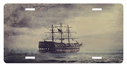 zaeshe3536658 Nautical License Plate, Old Pirate Ship in the Sea Historical Legend Cruise Retro Voyage Grunge Style Art, High Gloss Aluminum Novelty Plate, 6 X 12 Inches.