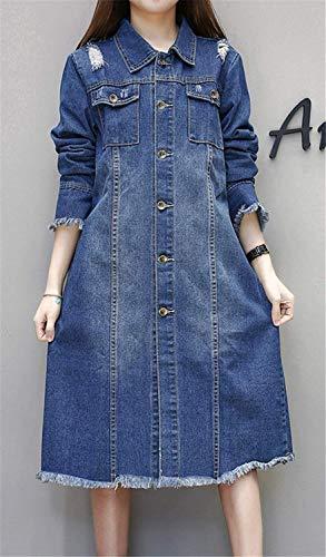 Accogliente Tassels Lunga Cappotto Strappato Casual Blu Jeans Donna Outwear Anteriori Single Elegante Autunno Giovane Bavero Tasche Manica Cappotti Moda Women Giacche Breasted 474Uwz