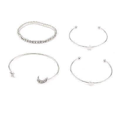 149d70e54933f Topsaire Bracelet Femme 4pc Manchette Bracelet Femme Coeur et Étoile et  Lune et Strass Bangle Set