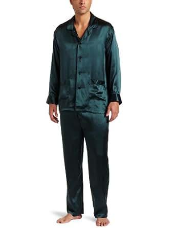 Intimo Men's Classic Silk Pajamas, Forest, Small