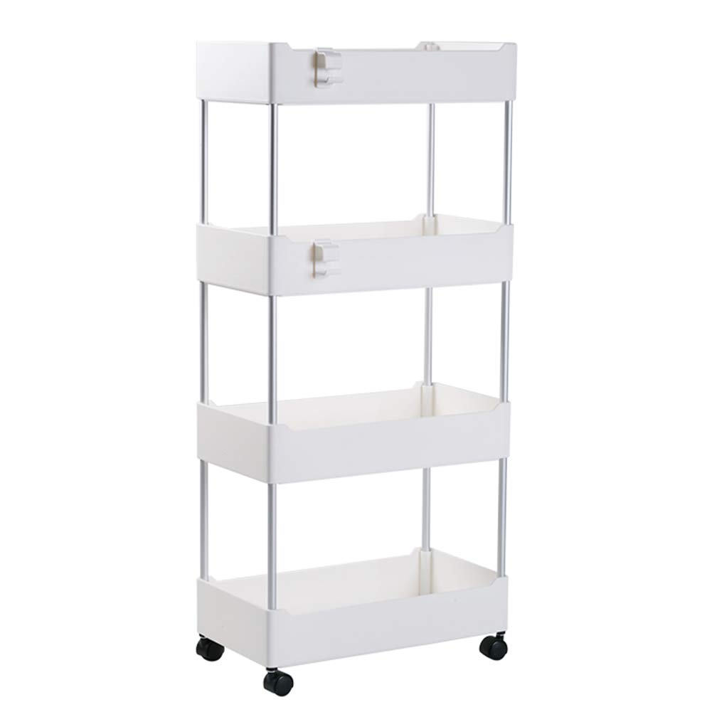 Multi-Function Rack, Removable 4-Layer Kitchen Living Room Storage Rack Trolley Bathroom Floor Cosmetics Storage Rack 360° Free rotation-15.758.5433.07in by Kitchen shelf
