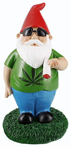 Gnometastic Smoking Gnome Indoor Outdoor Garden Gnome Statue, 8.5″ inches For Sale