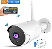 CHORTAU Outdoor Security Camera Wireless Wifi, Waterproof IP Camera Wireless with FHD 1080P, 110°Angle Wifi Bu