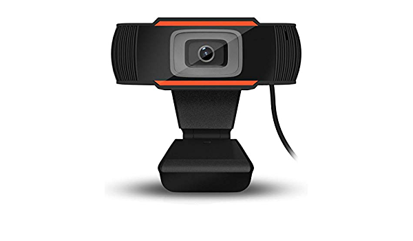 Greatangle Cámara giratoria HD Webcam 720P Cámara USB Grabación de Video Cámara Web con micrófono para computadora PC Negro + Naranja