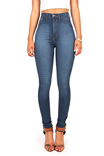 Vibrant Womens Juniors Classic High Waist Denim Skinny Jeans 7 Medium ()