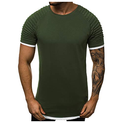 - Mote Mens Clothes, MensFake Two Piece Pleats Gradient Pattern Casual Lapel Short Sleeve Shirt T-Shirt Army Green