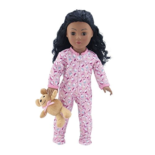 18 Inch Doll Clothes |Adorable Footed Pink Cupcake Print Pajama PJ Outfit Onesie with Teddy Bear | Fits American Girl Dolls from Emily Rose Doll Clothes