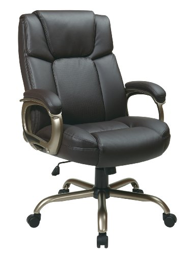 Office Star Executive Big Man's Chair with Eco Leather Seat and Back, Espresso Eco Leather Conference Chair