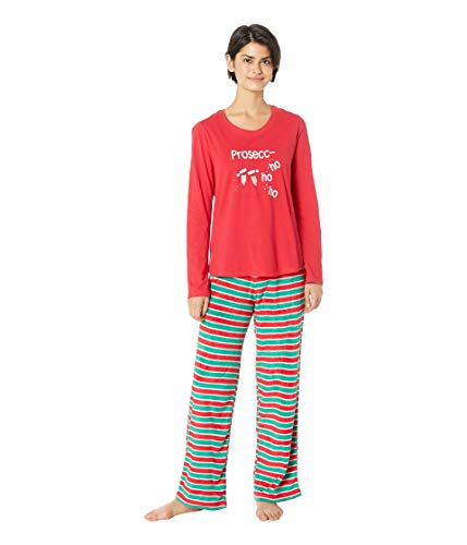 Karen Neuburger Women's Family Matching Christmas Holiday Pajama Sets, Candy Cane Stripe Red and Green Combo Pj-Prosecco, Mom Medium -
