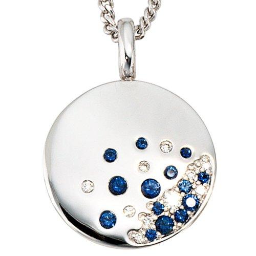 Bijoux pendant des bijoux or blanc des de saphirs bleus et diamants diamants hauteur 25,1 mm, largeur 18,3 mm environ