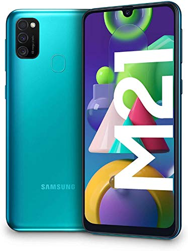 Samsung Galaxy M21 – Smartphone Dual SIM de 6.4″ sAMOLED FHD+, Triple Cámara 48 MP, 4 GB RAM, 64 GB ROM Ampliables, Batería 6000 mAh, Android, Versión Española, Color Verde