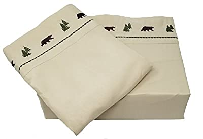 Embroidered Brown Bear and Pine Trees Lodge Sheet Set