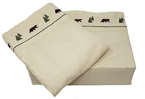 Embroidered Hem Brown Bear and Pine Trees 4 Piece KING Size Sheet (Country Pine Log)