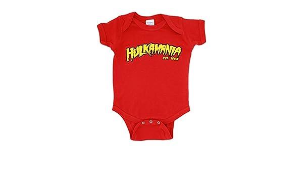c7fefaf1e Hulkamania Hulk Hogan Logo Red Snapsuit Infant Onesie Baby Romper (6 ...