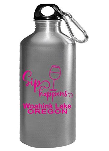 Sip Happens - Woahink Lake Oregon - Wine Drinker - Water Bottle by KewlCover