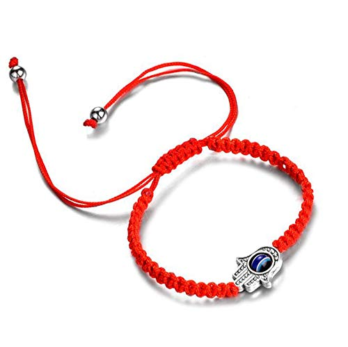(1 pcs Lucky Hamsa Red String Line Kabbalah Bracelets Bracelet Bangle Braided String Cord and Rotating Evil Eye Hamsa Hand - Jewish Amulet Pendant Jewelry for Success and Lucky (1 pcs))