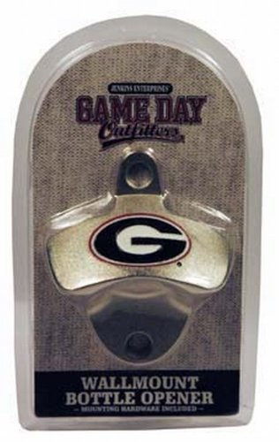 NCAA Georgia Bulldogs Bottle Opener Metal Retro Wall Mount, Small, Metallic with Team Color