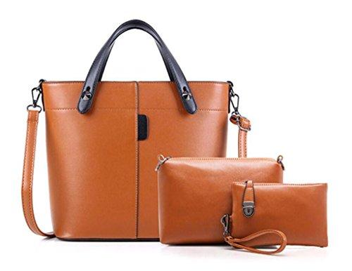 NVBAO Sacchetto femminile del tre pezzi ha fissato quattro colori di viaggio di lavoro di lavoro della spalla + mano + raccoglitore di modo, brown brown