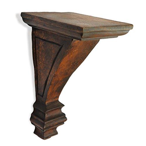 CinMin 10.25″ Handcarved Art Deco Corbel Wood Wall Bracket/Floating Shelf (Torino-Oak Finish)