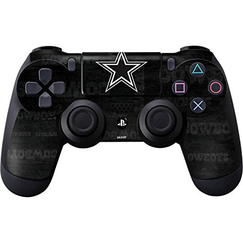 Skinit Dallas Cowboys Black & White PS4 Controller Skin - Officially Licensed NFL PS4 Decal - Ultra Thin, Lightweight Vinyl Decal Protective Wrap