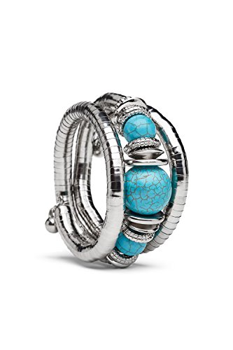 Flexible Snake Bracelet Multi Wrap Silver AntiqueTibetan Bangle Beaded Memory Wire - Snake Turquoise Bracelets