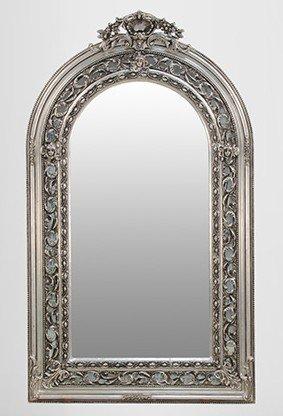 Großer prunkvoller Barock Spiegel Halbrund Silber 185 x 110 cm