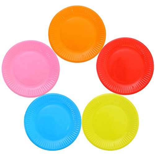 Toyvian 50 pcs 9 inch Classic Assorted Color Round All Occasion Disposable Paper Dinner Plates Birthday Party Supplies
