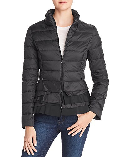 T Tahari Zoey Ruffled Puffer Packable Coat Jacket Black (S)