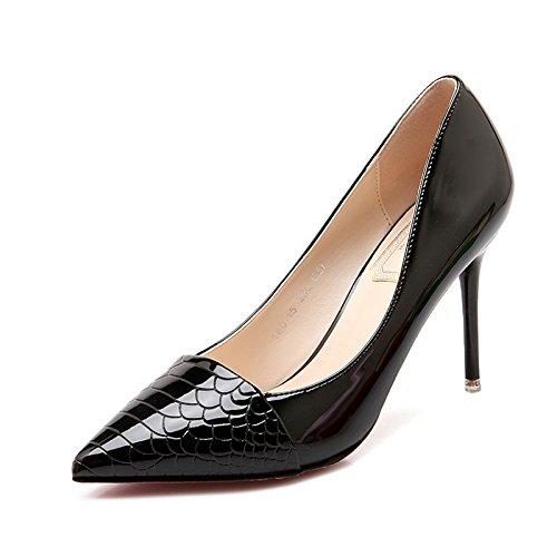 Xue Qiqi high-heel Schuhe fein mit Spitze und vielseitige Arbeit mode Damenschuhe elegante Bare-metal-Farbe light-Schuh 35 schwarz 10 cm
