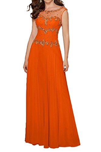 La Langes Partykleider mia Elegant Chiffon Brautmutterkleider Abendkleider Gruen Braut A Steine Lemon Rock mit Orange Linie gXqgwra