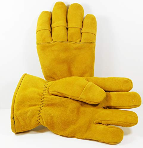 Size Medium - Tan Firefighter Heavy Duty Work Gloves NFPA Rated (Best Structural Firefighting Gloves)
