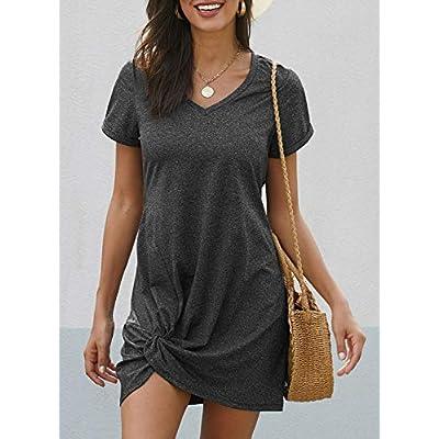 Dearlovers Womens Short Sleeve Tshirt Dresses Side Knot Mini Dress at Women's Clothing store