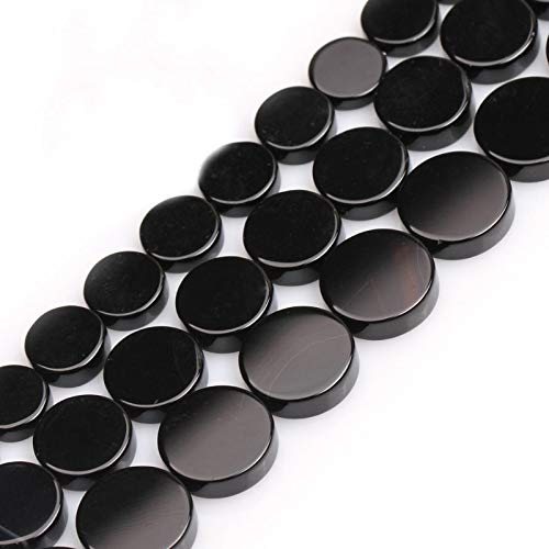 (Calvas 8-16mm Button Coin Black Agates Beads Natural Stone Beads for Jewelry Making Beads 15inch Needlework DIY Beads Trinket - (Item Diameter: 14mm))