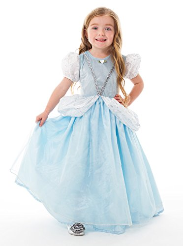 [Little Adventures Deluxe Cinderella Girls Princess Costume - Large (5-7 Yrs)] (Princess Tiana Disney Costume)