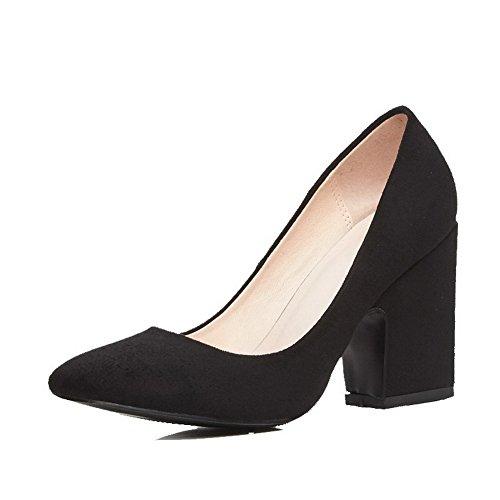 AgooLar Damen Ziehen auf Hoher Absatz Mattglasbirne Rein Quadratisch Zehe Pumps Schuhe Schwarz