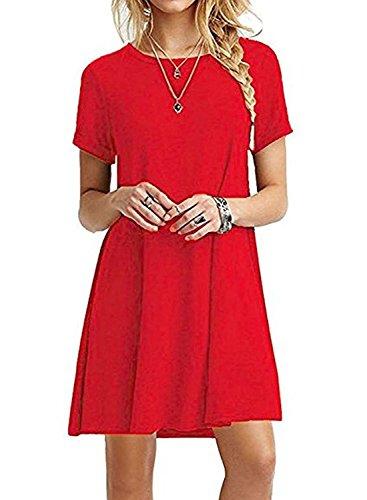 Women's Summer Casual Plain Simple Swing T-shirt Loose Midi Dress (Small, Red) (Red Dress Shirt)
