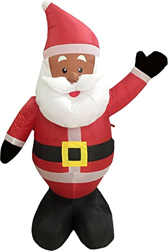 Nicky Bigs Novelties 48 Inch Ethnic Santa Holiday Inflatable Yard Decoration, Multicolor (Black Santa Decorations)