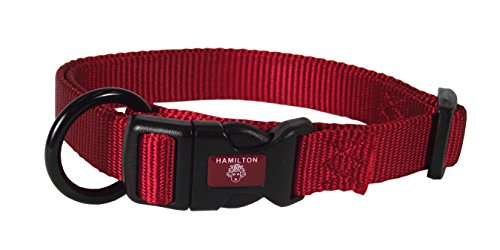 """Hamilton 3/4"""" Adjustable Dog Collar, adjusts from 16-22 inches, Red"""