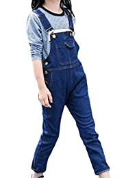 Fulok Girls' Classic Bib Jumpsuits Rompers Washed Denim Overalls Pants