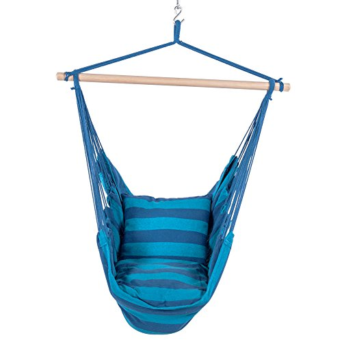 Lazy Daze Hammocks Hanging Rope Hammock Chair Swing Seat with 2 Seat Cushions, Weight Capacity 300 Lbs (Seaside Stripe)