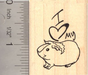 I heart my Guinea Pig Rubber Stamp