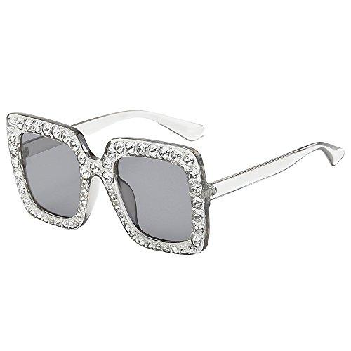Fenleo Womens Fashion Sunglasses, Artificial Diamond Cat Ear Quadrate Metal Frame Brand - Brands Sunglasses Cheap