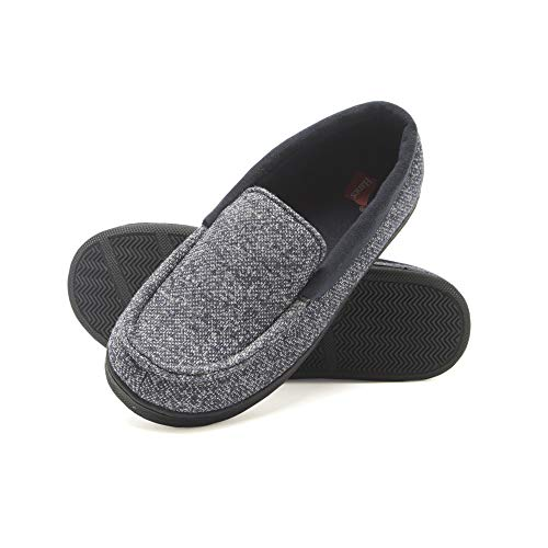 (Hanes Boy's Slipper Moccasin House Shoe with Indoor Outdoor Memory Foam Sole Fresh IQ Odor Protection (Size Large, Navy))