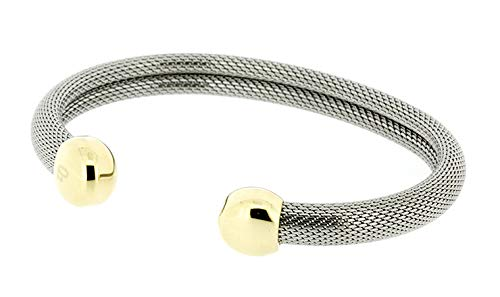 (QRAY Milano Combo Steel Golf Athletic Bracelet Men Women C-Shaped Health Wellness Bracelet (Medium: 7