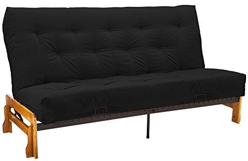 Bristol Futon Sofa Sleeper Bed, Full, Medium Oak Frame/Black Mattress
