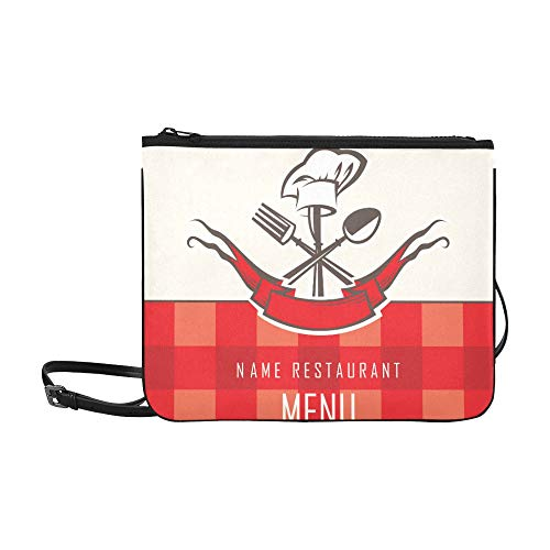 Menu Gesign With Spoon Knife And Fork Pattern Custom High-grade Nylon Slim Clutch Bag Cross-body Bag Shoulder Bag -